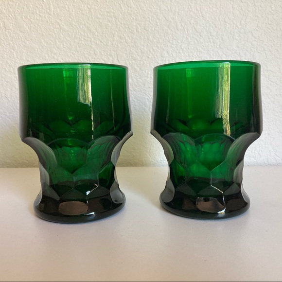 2 Green Vintage Drinking Glasses Cups